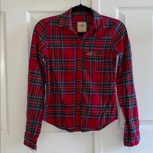 Hollister Red and Green Plaid Flannel Button Down